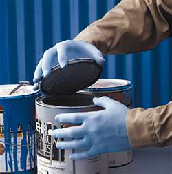 Nitrile gloves protect your hands from chemicals in paint, and make cleanup a snap
